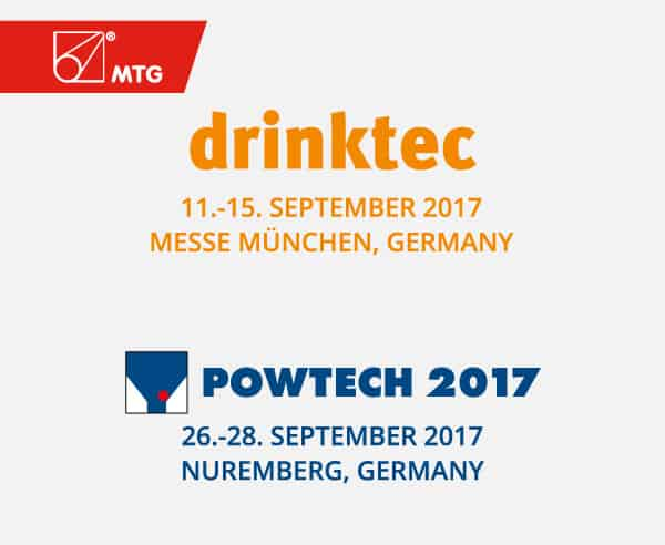 MTG will be present at Drinktec and Powtech 2017 trade shows.